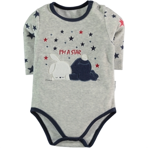 Kujju 3-9 Months Baby Boy Navy Blue Bodysuit With Snaps