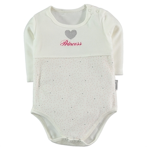 Kujju Baby Girl Gray Bodysuit With Snaps For Age 3-9