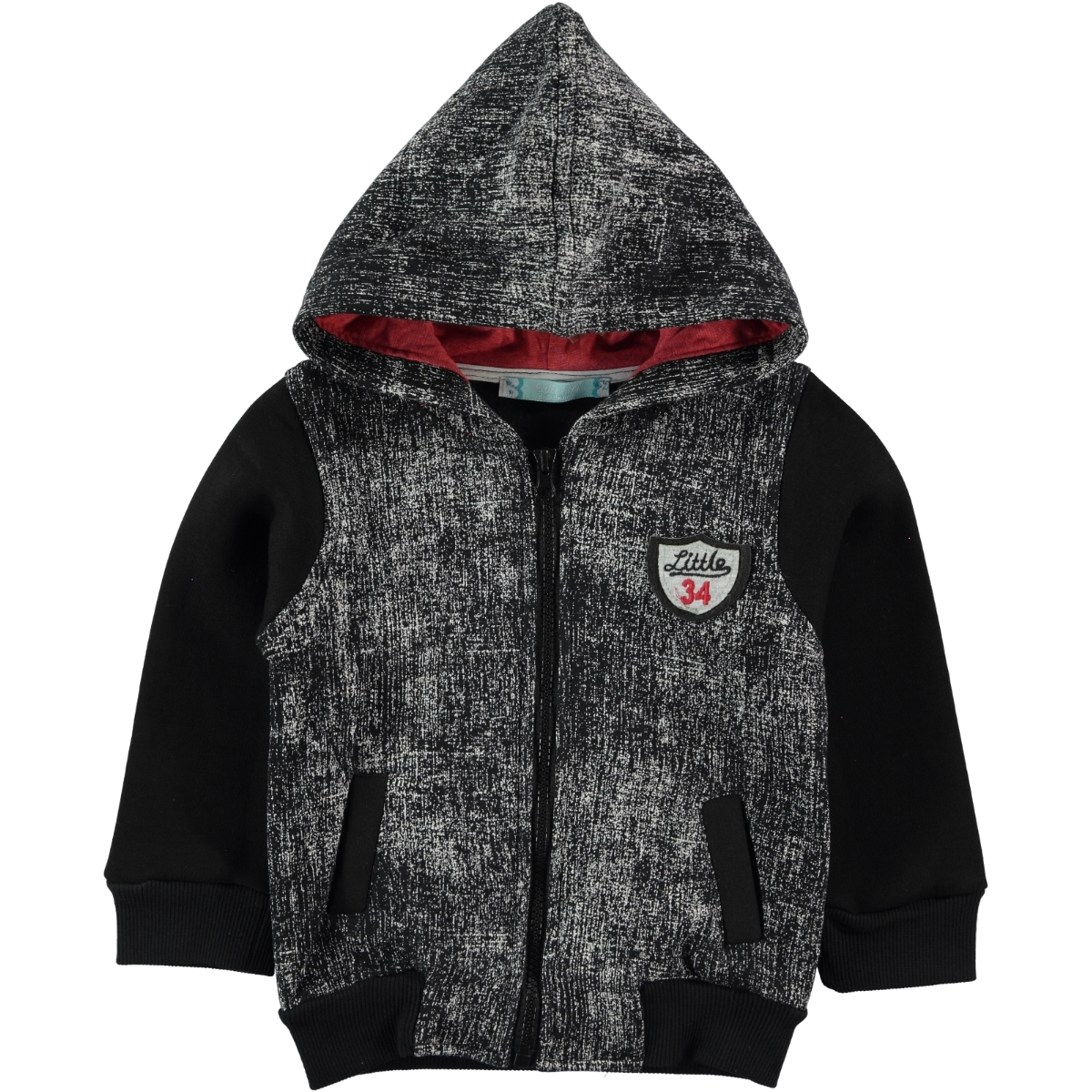 Haliş Boy Hooded Cardigan Black 2-5 Years