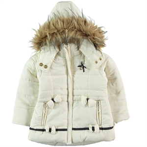 Civil Girls Girl Hooded Jacket Ecru 2-5 Years