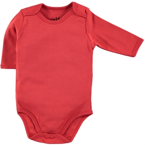 Kujju Combing 0-1 Month Bodysuit With Snaps Red