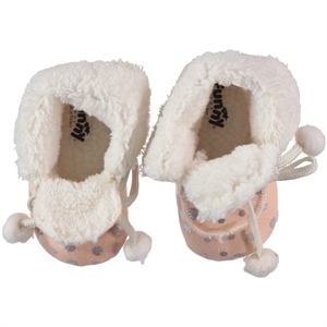 Funny Baby Girl Baby Booties Light Tan Pompom 16-19 Number