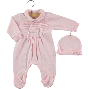 Civil Baby Jumpsuit With Hat 0-6 Months Baby Girl Pink