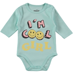 Kujju 3-9 Months Baby Girl Mint Green Bodysuit With Snaps