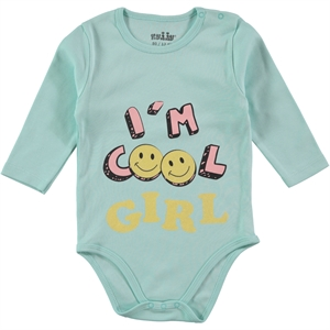 Kujju 12-24 Months Baby Girl Mint Green Bodysuit With Snaps
