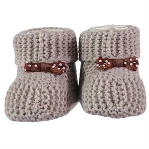 Civil Records Baby Booties 0-6 Months Beige