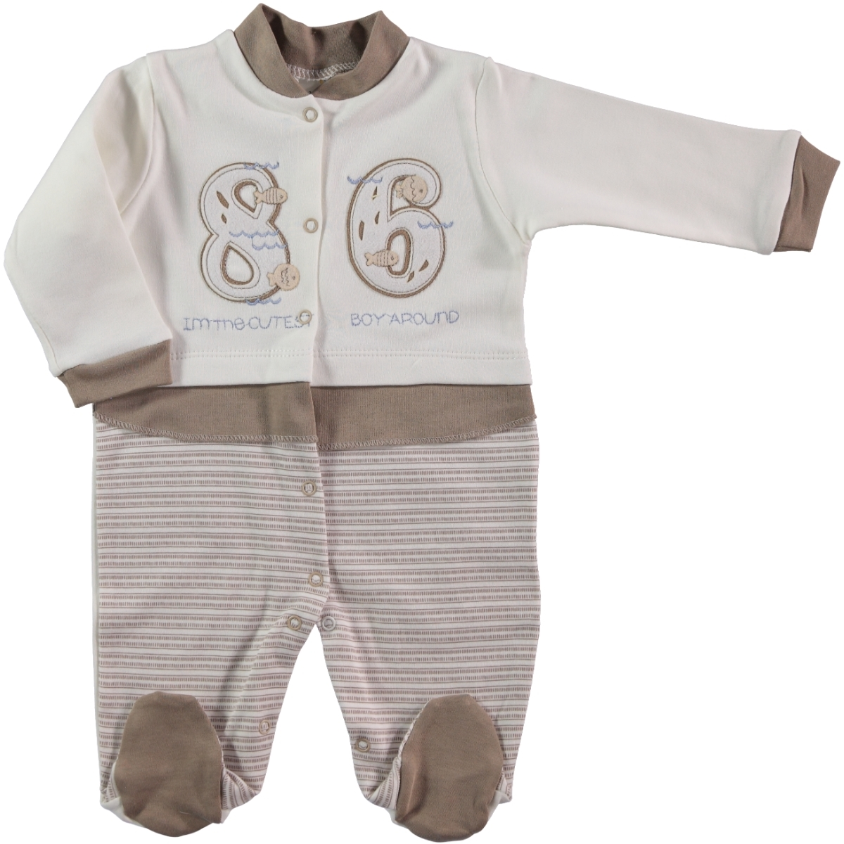 Civil Baby Oh Baby Boy Overalls 0-3 Months Baby Brown Booty