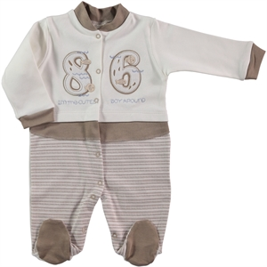 Civil Baby Oh Baby Boy Overalls 0-3 Months Baby Brown Booty (1)