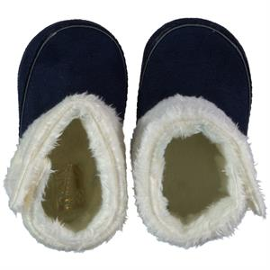 Baby Pattini Furry Baby Booties Navy Blue Number 17-19