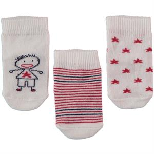 Minidamla Baby boy 3-Set of socks 0-6 months Red