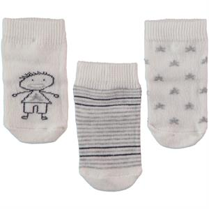 Minidamla 3 baby boy sock Set, 0-6 months, grey (1)