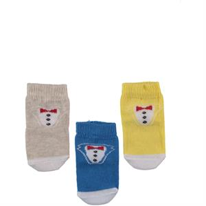 Minidamla 3 baby boy sock Set, 0-6 months, yellow