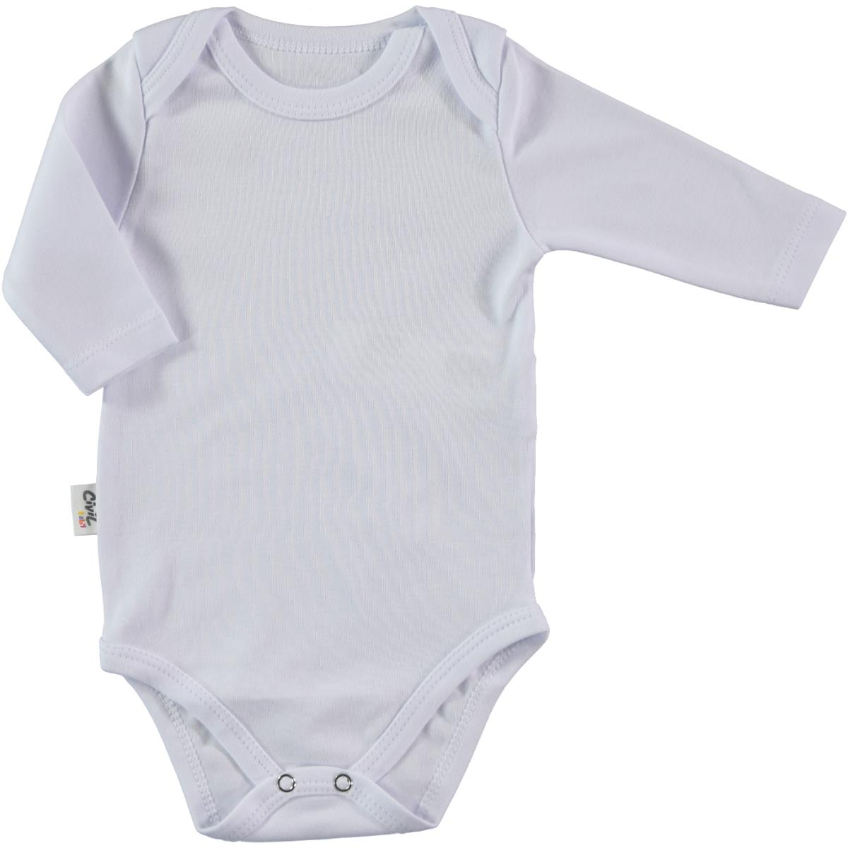 Civil Baby With Snaps White Bodysuit 3-36 Months Baby