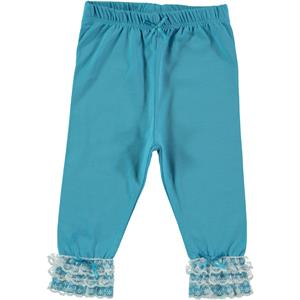 Kujju 6-18 Months Baby Girls Turquoise Leggings With Lace