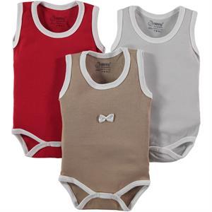Nenny Baby Kız Bebek 3'lü Çıtçıtlı Badi 0-6 Ay Kırmızı