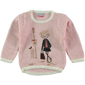 Erva Children Knitwear Girl's Sweater, Pink, 1-3 Years