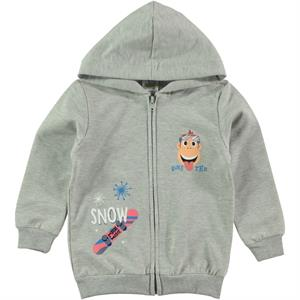 Kukuli Boy Hooded Cardigan, Grey 1-5 Years