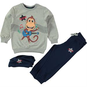 Kukuli Boy Sweat Suit Gray Beanie 2-5 Years