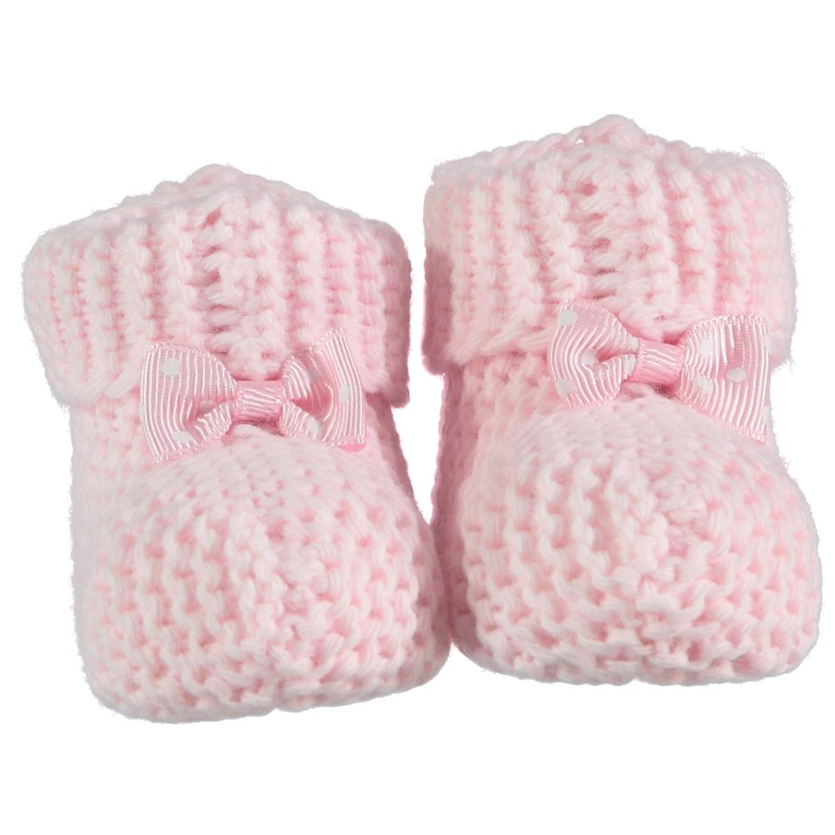Recos Accessories Knitwear Baby Booties 0-6 Months Pink