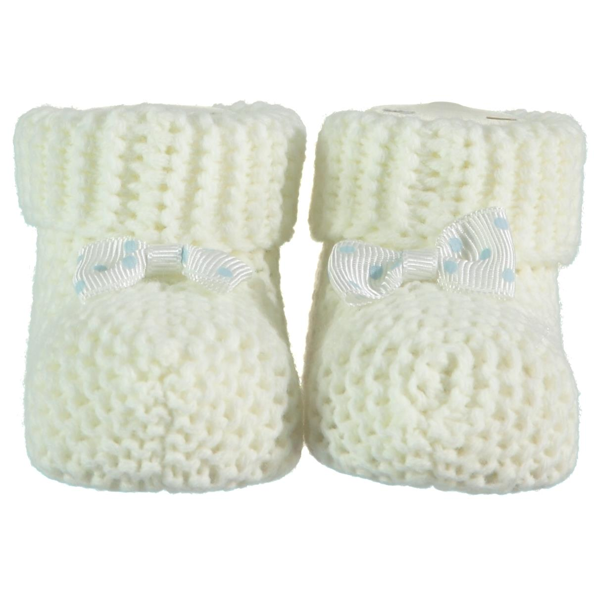 Recos 0-6 Months Baby Booties Ecru Knitwear Accessories
