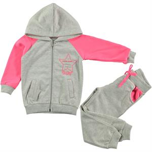 Cvl Girl Gray Hooded Sweat Suit 2-5 Years