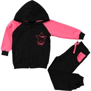 Cvl Girl Black Hooded Sweat Suit 2-5 Years
