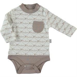 Pierre Cardin 0-9 Months Brown Baby Bodysuit With Snaps