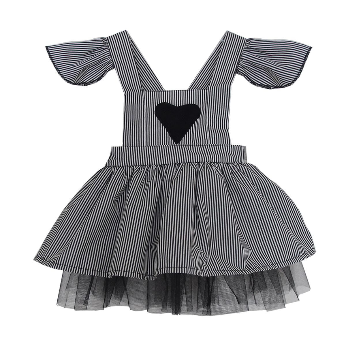 Shecco Babba Girls Dress-Hearted, Black-And-White