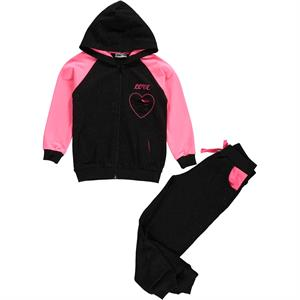 Cvl Black Hooded Sweat Suit Girl Age 6-9