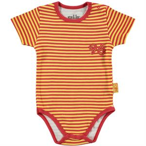Kujju 3-9 Months Baby Boy Striped Yellow Bodysuit With Snaps