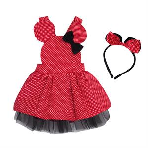 Shecco Babba Q. Dad Girl Polka Dot Dress - Tutu Dress, Crown, Age 1-4 Team Red