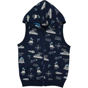 Cvl Boy Navy Blue Hooded Vest 2-5 Years