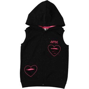 Cvl Black Hooded Vest Girl Age 6-9