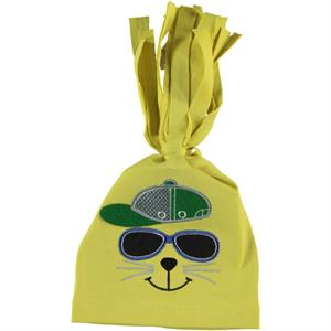 Leoncino Yellow Combed Cotton Hat 0-6 Months