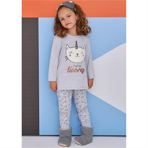 Roly Poly A Pajama Outfit Gray Girl 5-8 Years