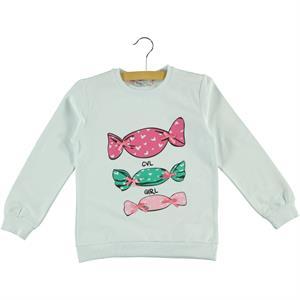 Cvl Kız Çocuk Sweatshirt 6-9 Yaş Beyaz