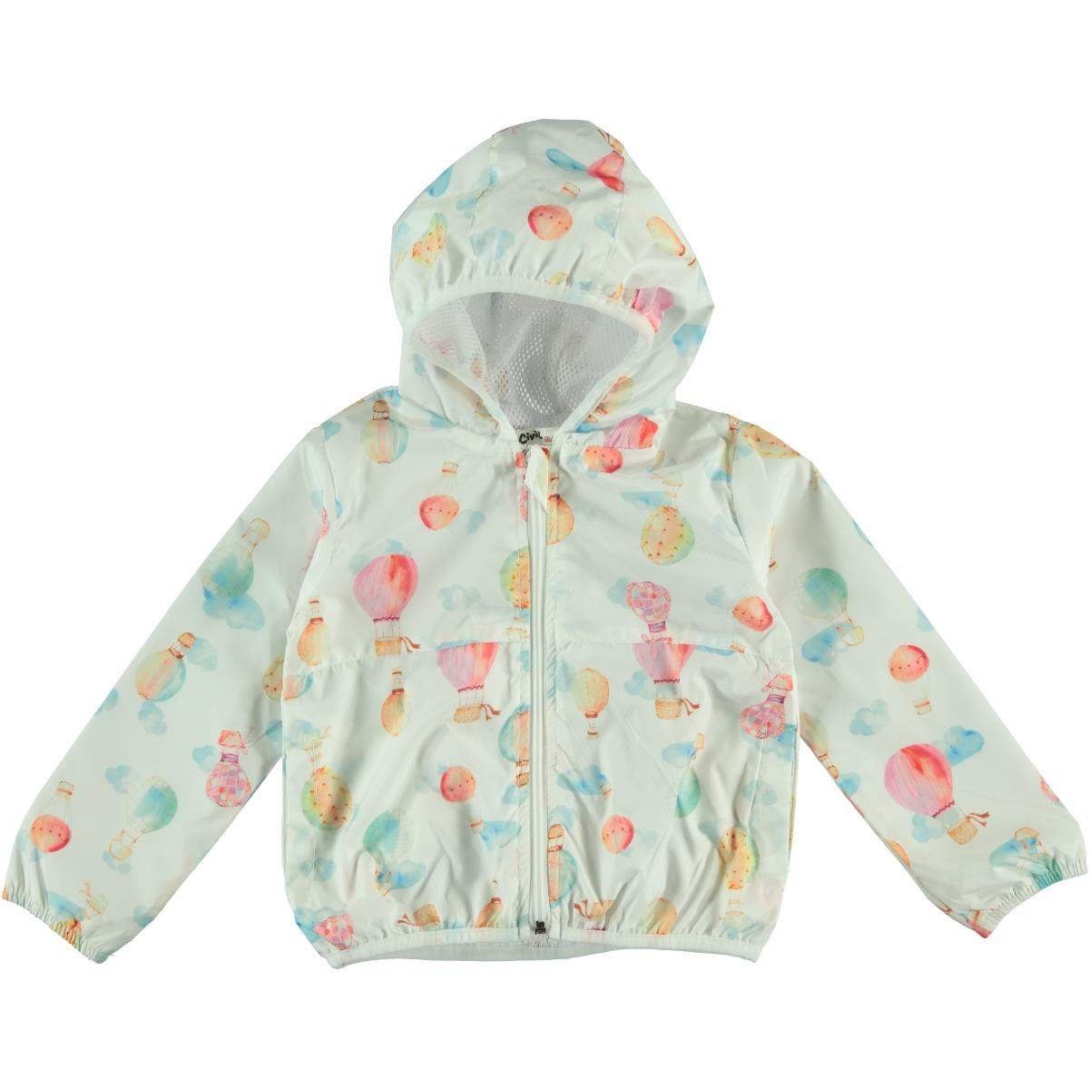 Civil Girls Girl's Hooded Raincoat Ecru 2-5 Years
