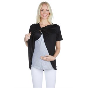 LuvmaBelly Black Cotton Breastfeeding Maternity Blouses Maternity 3502