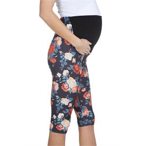 LuvmaBelly Maternity 8018 - Aided Floral Cotton Capri Tights Pregnant Belly