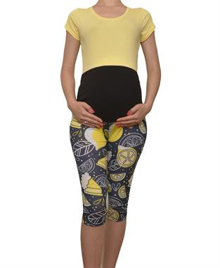 LuvmaBelly 8021 Maternity - Cotton patterned Tights Capri Pregnant Belly Lemon-Aided