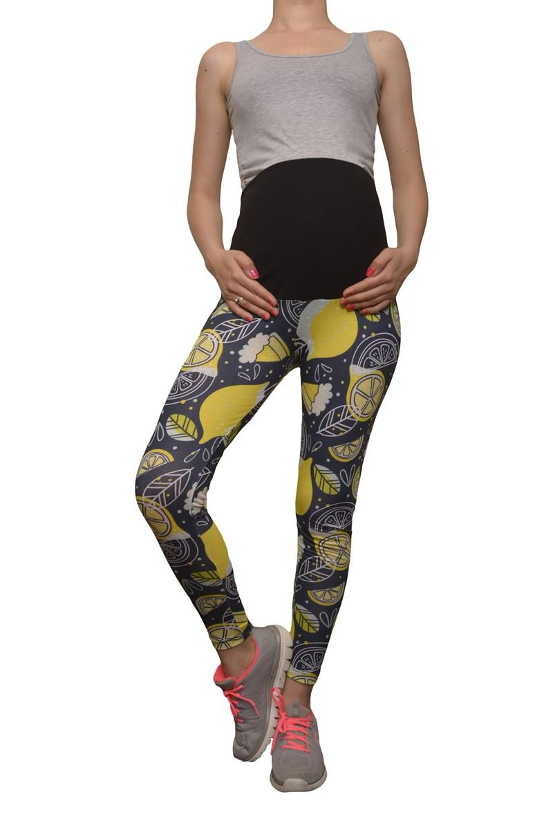 LuvmaBelly 8026 Maternity - Cotton patterned Tights Pregnant Belly Lemon-Aided
