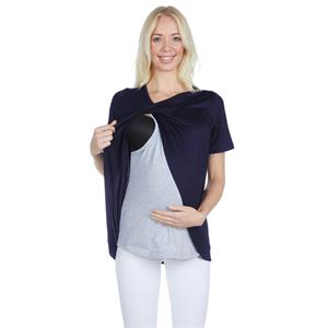 LuvmaBelly 3503 Breastfeeding Postpartum Cotton Navy Blue Viscose Blouse