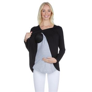 LuvmaBelly 3510 Black Cotton Viscose Long Sleeve Maternity Breastfeeding Blouse