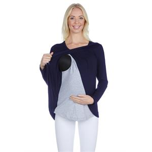 LuvmaBelly Navy Blue Viscose Blouses Cotton Long Sleeve Maternity Breastfeeding 3511