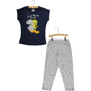 Roly Poly Tweety Girl A Pajama Outfit Age 6-12 Navy Blue