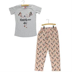 Mickey Mouse ve Arkadaşları Kız Çocuk Pijama Takımı 10-16 Yaş Gri