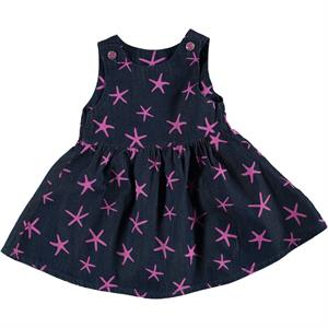 Civil Baby 6-18 Months Baby Girl Denim Dress Fuchsia