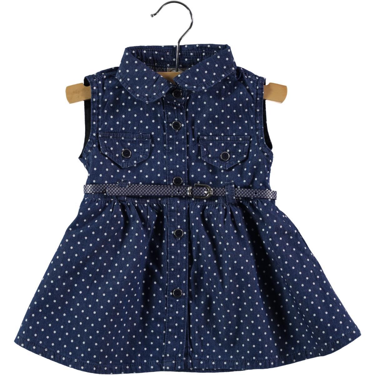 Civil Baby White Denim Dress For Baby Girl 6-18 Months
