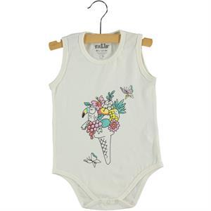 Kujju 12-24 Months Baby Girl Bodysuit With Snaps Ecru