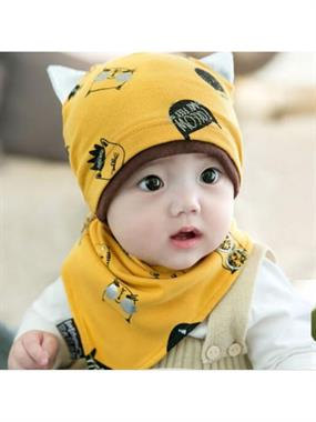 Lava Baby Scarf and beanie-yellow team
